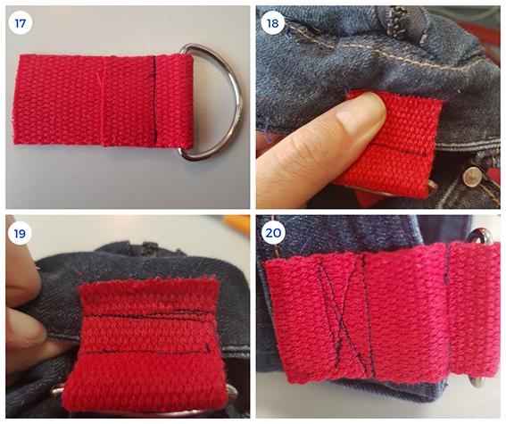 Installation des boucles de sac